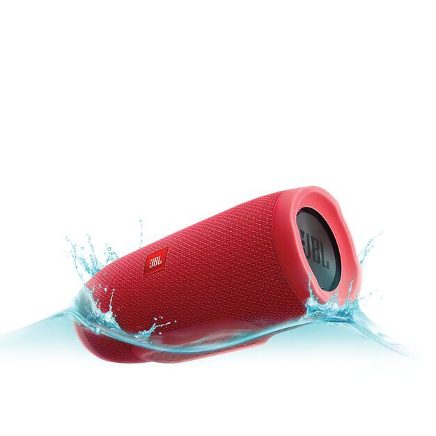 JBL Charge 3 - Red - Full-featured waterproof portable speaker with high-capacity battery to charge your devices - Hero