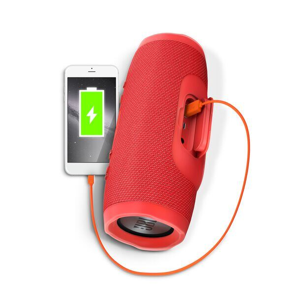 JBL Charge 3 - Red - Full-featured waterproof portable speaker with high-capacity battery to charge your devices - Detailshot 1