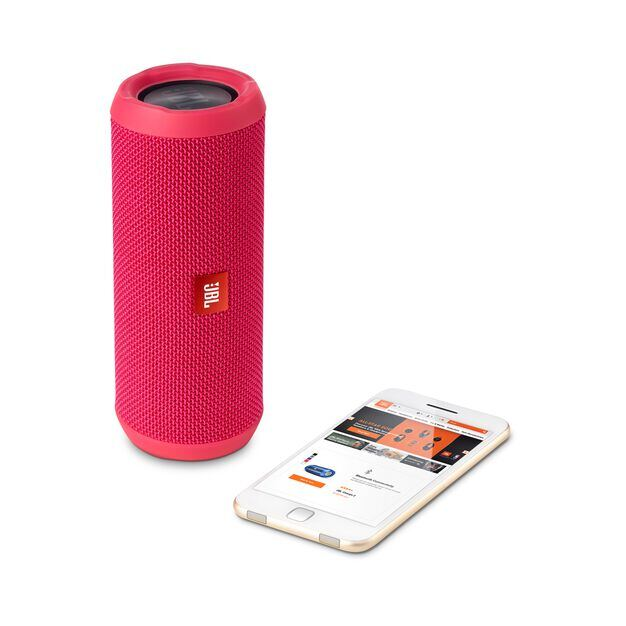 JBL Flip 3 - Pink - Splashproof portable Bluetooth speaker with powerful sound and speakerphone technology - Detailshot 1